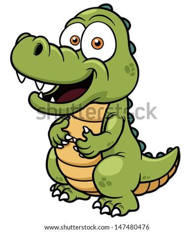 Vector illustration of Cartoon crocodile - stock vector