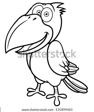 Vector illustration cartoon crow coloring book stock vector 135899465 shutterstock - Coloriage corbeau ...