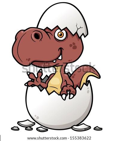 Vector illustration of Cartoon Dinosaur baby - stock vector