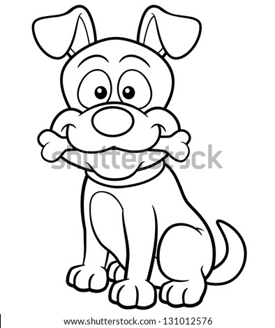 Vector illustration of Cartoon Dog - Coloring book - stock vector