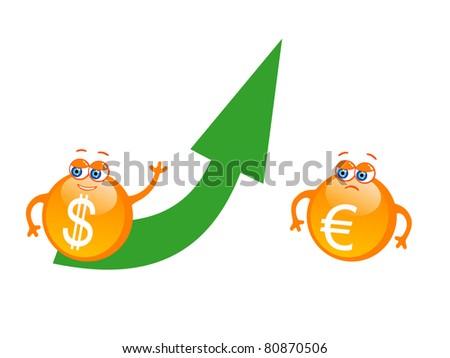 Vector illustration of cartoon dollar with green rising arrow - stock vector