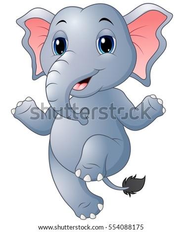 Vector Illustration Cartoon Elephant Dancing Stock Vector ...