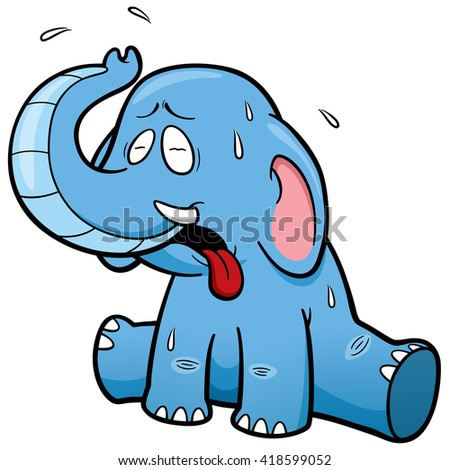 Vector illustration of cartoon Elephant in Hot Weather