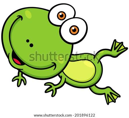 Vector illustration of Cartoon green frog - stock vector