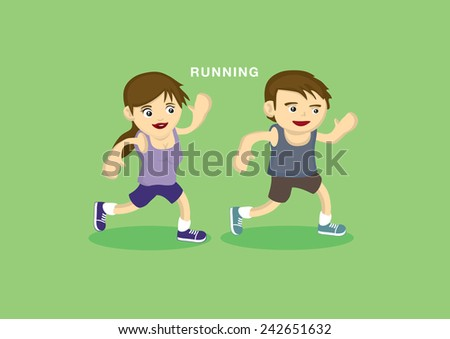 Vector illustration of cartoon happy boy and girl in sportswear exercise by running - stock vector
