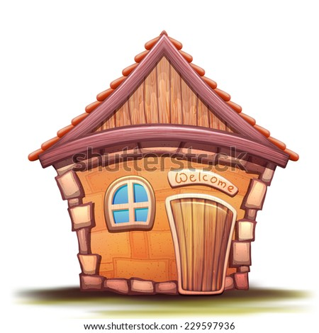 Vector illustration of cartoon home on white background