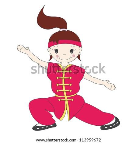 Vector illustration of cartoon  kung fu girl - stock vector
