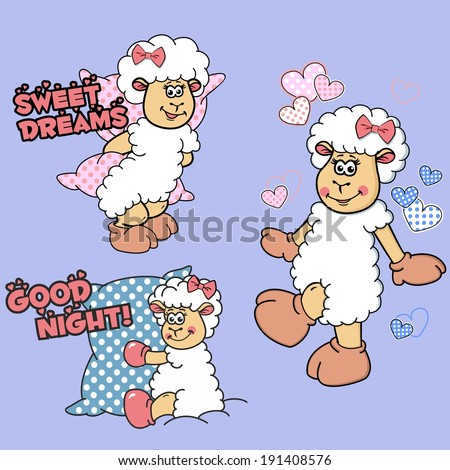 Vector illustration of cartoon lambs with pink bows in different poses on a blank background: sheep with a pillow behind her, sheep hugging a pillow, walking lamb with polka dot hearts around her. - stock vector