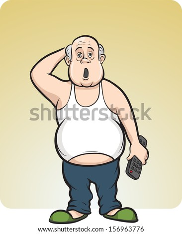 Vector illustration of cartoon lazy fat man. Easy-edit layered vector EPS10 file scalable to any size without quality loss. High resolution raster JPG file is included. - stock vector