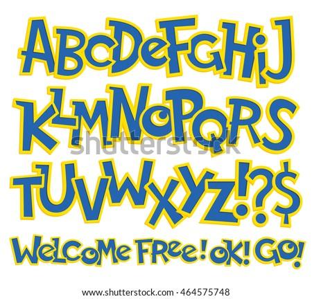 vector illustration of cartoon lettering for design website background banner typography element