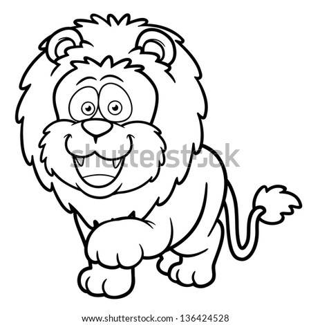 Vector Illustration Cartoon Lion Coloring Book Stock Vector (Royalty ...