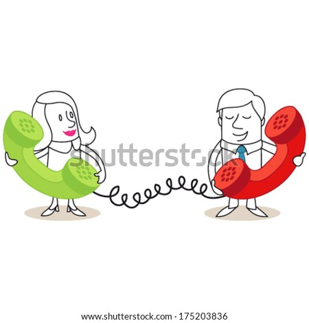 Vector illustration of cartoon man and woman talking with each other on huge phones. Jpeg version also available in my gallery. - stock vector