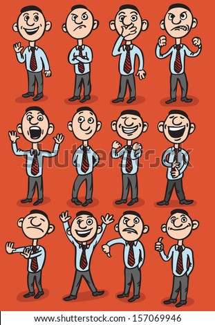 Vector illustration of cartoon man figures. Easy-edit layered vector EPS10 file scalable to any size without quality loss. High resolution raster JPG file is included. - stock vector
