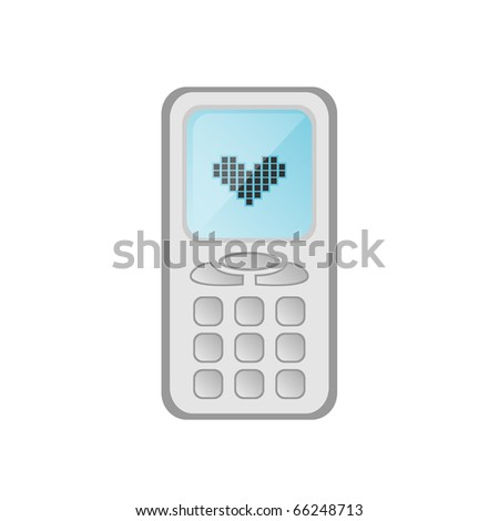 Vector illustration of cartoon mobile phone with heart on the display - stock vector