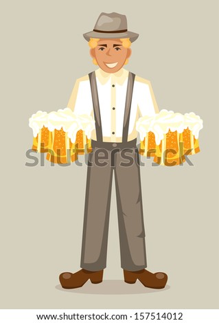 Vector illustration of cartoon oktoberfest man with beer. Easy-edit layered vector EPS10 file scalable to any size without quality loss. High resolution raster JPG file is included. - stock vector