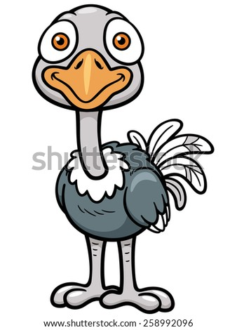 Vector illustration of Cartoon ostrich - stock vector