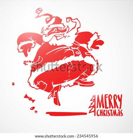 Vector illustration of cartoon red santa claus jumping. Hand drawn decorative element or your xmas design isolated on white background. Merry christmas lettering.  - stock vector
