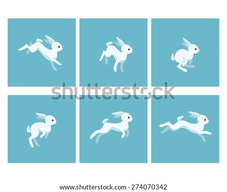 Vector illustration of cartoon running rabbit animation sprite - stock vector