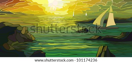 Vector illustration of cartoon sailing yacht in sunset (stained glass windows). - stock vector