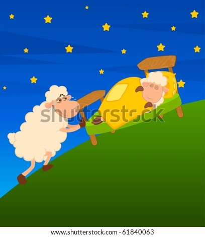 Vector illustration of cartoon sheep in bed