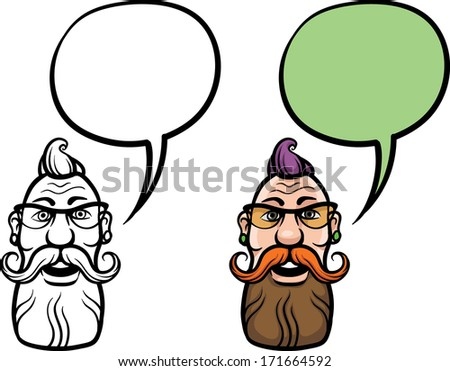 Vector illustration of cartoon smiling hipster face. Easy-edit layered vector EPS10 file scalable to any size without quality loss. High resolution raster JPG file is included.  - stock vector