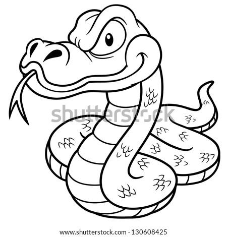 Cartoon snake coloring pages ~ Vector Illustration Cartoon Snake Coloring Book Stock ...