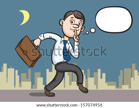 Vector illustration of cartoon sneaking businessman finger on lips. Easy-edit layered vector EPS10 file scalable to any size without quality loss. High resolution raster JPG file is included.