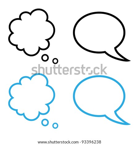 Vector illustration of cartoon speech and thought bubbles collection, black and blue version - stock vector