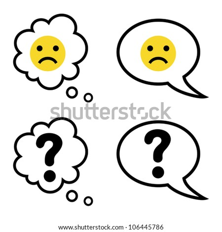 Vector illustration of cartoon speech and thought bubbles with sad face and question mark - stock vector
