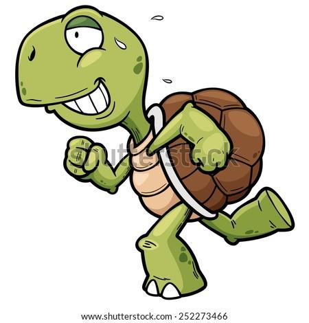 Vector illustration of Cartoon turtle - stock vector