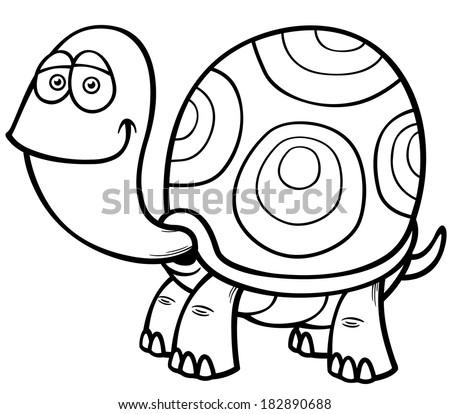 Vector Illustration Cartoon Turtle Coloring Book Stock Vector ...
