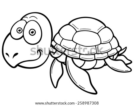 Vector illustration of cartoon turtle coloring book