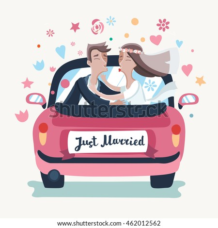 Vector illustration of cartoon wedding couple driving a pink car in honeymoon trip. Just married bride and groom