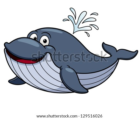 Vector illustration of cartoon whale - stock vector