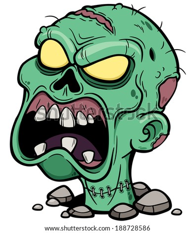 Vector illustration of Cartoon Zombie head - stock vector
