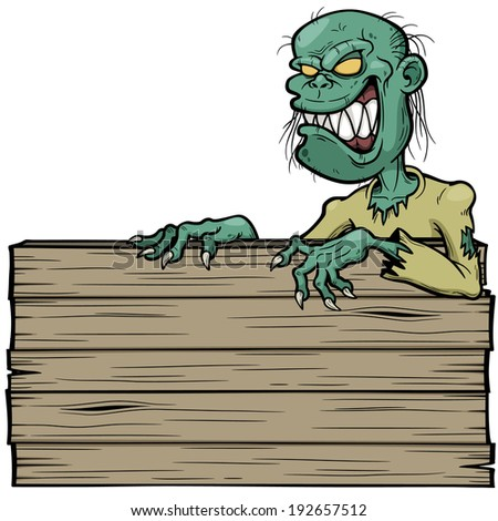 Vector illustration of Cartoon zombie with wooden sign - stock vector