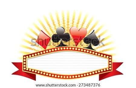 Vector illustration of casino banner with poker signs on the top. - stock vector