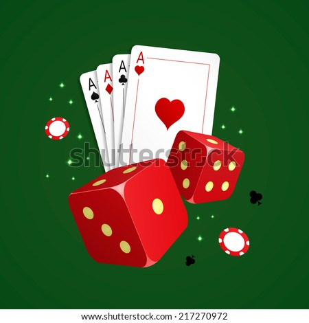 Vector illustration of casino elements. Including four playing cards, two dice and gambling chips on green background. - stock vector