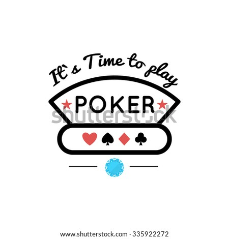 Vector illustration of Casino, Poker design with  chip and suit - stock vector
