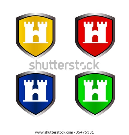 vector illustration of castle on shield - stock vector