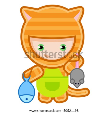 vector illustration of cat caught the mouse and fish