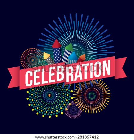 Vector illustration of celebration with fireworks background. - stock vector