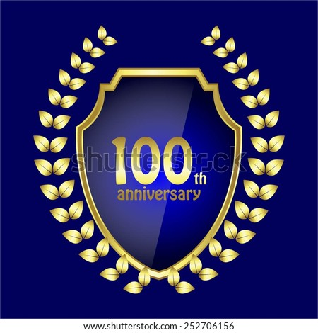 Vector illustration of Century - the anniversary. 100 and gold laurel wreath on blue. - stock vector