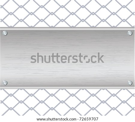 Vector illustration of chain fence with a metal plate on it, eps10 - stock vector