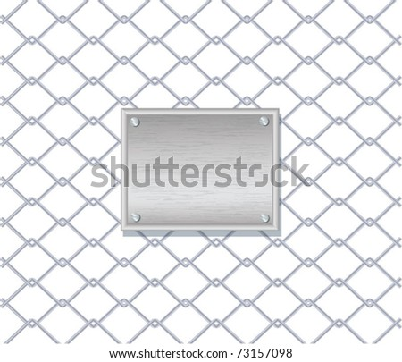 Vector illustration of chain fence with a metal plate on it, eps10