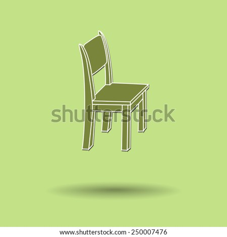 Vector illustration of chair against color background. - stock vector