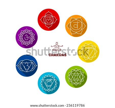 Vector illustration of Chakra color flat set - stock vector
