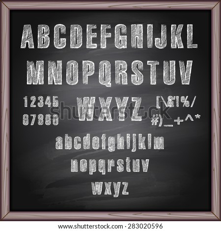 Vector illustration of chalked alphabet on a chalkboard background - stock vector
