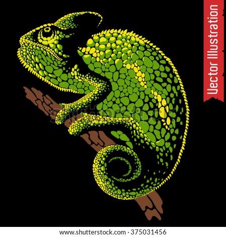 Vector illustration of chameleon. Point art. - stock vector