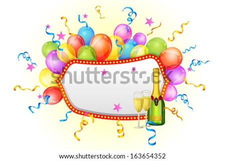 vector illustration of champagne bottle and glass with balloon - stock vector